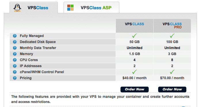 Arvixe VPS Class